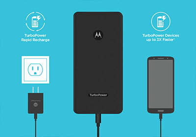 TurboPower charge and recharge at up to 18W through the USB-C port or USB-A port.